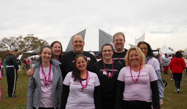 Hurricane Sandy Was No Match For Cindy's Angels @ The Making Strides Against Breast Cancer Walk Pennsauken Nj T-Shirt Photo