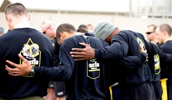 Praying Before Officer Vs Enlisted Football Game   Afghanistan T-Shirt Photo