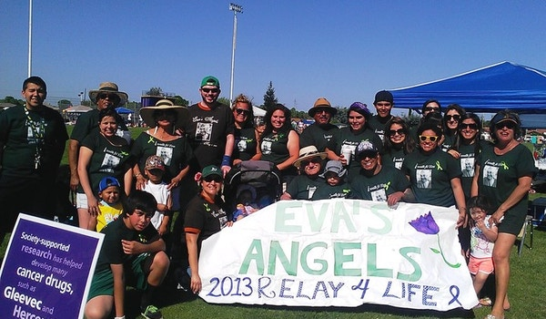 Granado Family & Friends Team Eva's Angels At Livingston, Ca Relay For Life On April 20, 2013 T-Shirt Photo