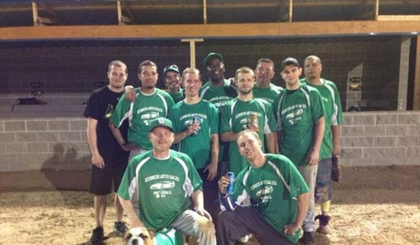 Our Softball Team And Mascot Rocky T-Shirt Photo