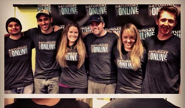 Saturday Night Online Crew Celebrating 100 Affiliates T-Shirt Photo