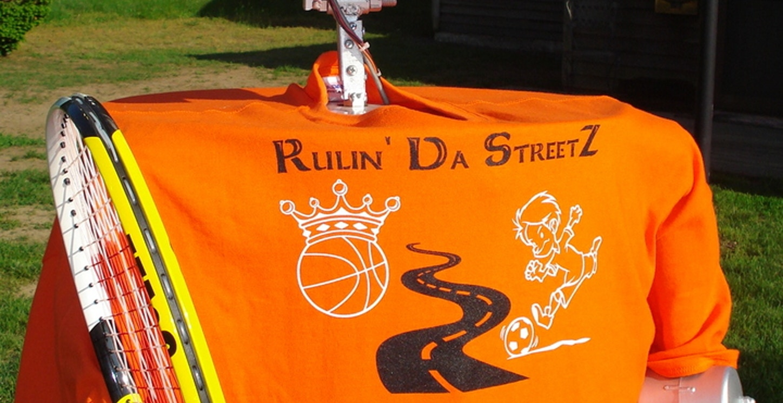 Robot Promotes Out Of World New Business, Rulin' Da Steet Z Sports League. T-Shirt Photo