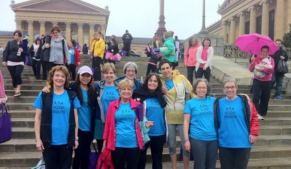 Yoga On Philadelphia Art Museum Steps T-Shirt Photo