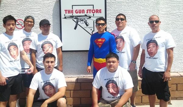 Superman At The Shooting Range T-Shirt Photo