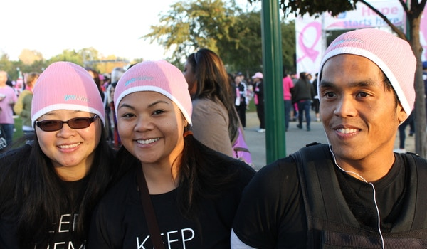 Sporting Our Yesvideo Breast Cancer Beanies! T-Shirt Photo