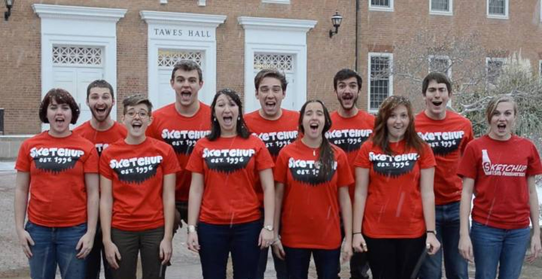 College Comedy Group Christmas Caroling T-Shirt Photo