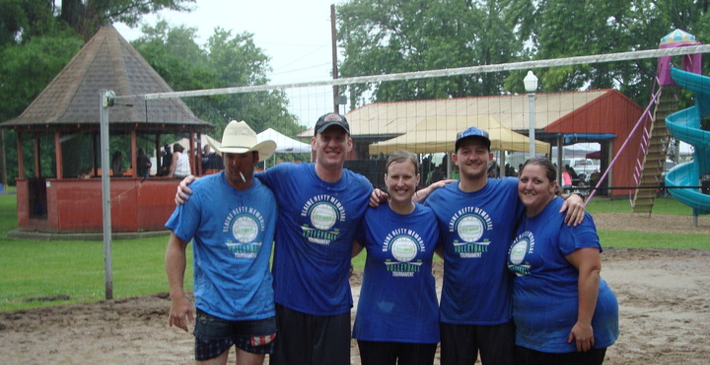 Memorial Sand Volleyball Tournament In Pouring Rain T-Shirt Photo