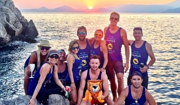 Greek Sunset On The Aegean Sea With The Aquaholics T-Shirt Photo