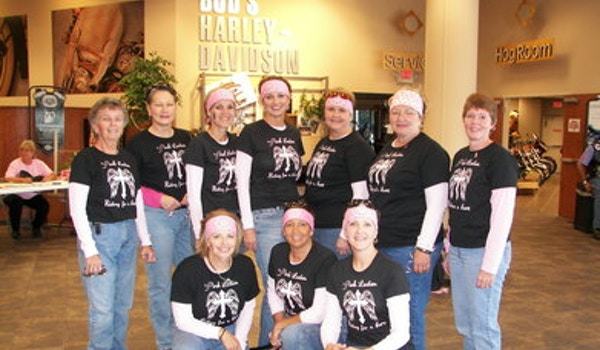 Pink Ladies Riding For A Cure T-Shirt Photo