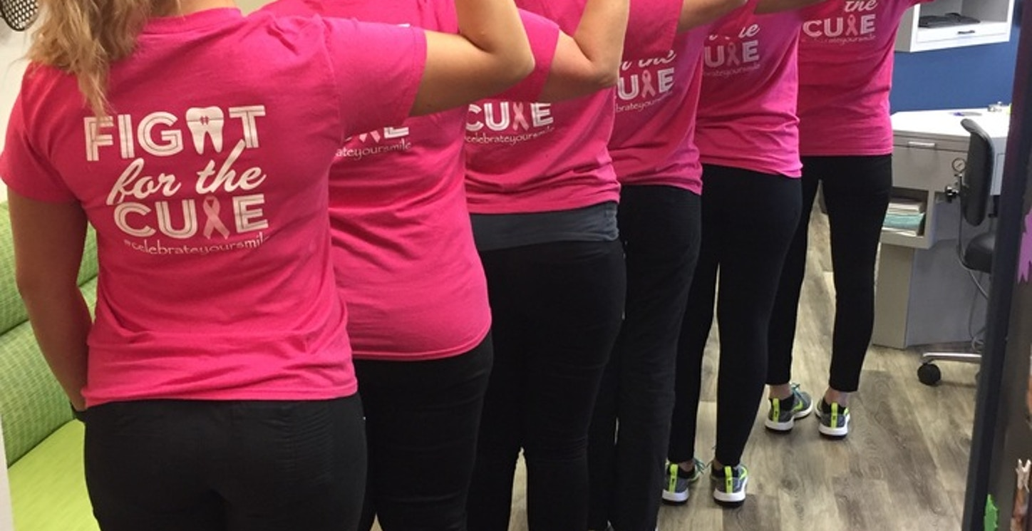 In October We Wear Pink At Rho! T-Shirt Photo