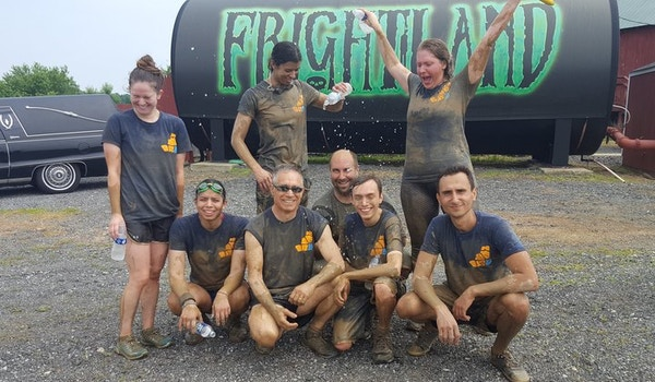 Mud One Team After Participating In The Delaware Mud Run For Leukemia Research T-Shirt Photo