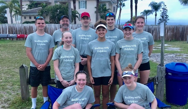 Sculling With Dolphins  T-Shirt Photo