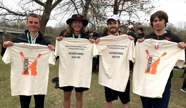 Rockford Rowing Seniors Showing Off Their Custom Ink T-Shirt Photo