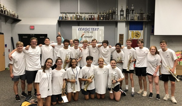 The J.J. Pearce Mighty Mustang Band Trumpet Section T-Shirt Photo