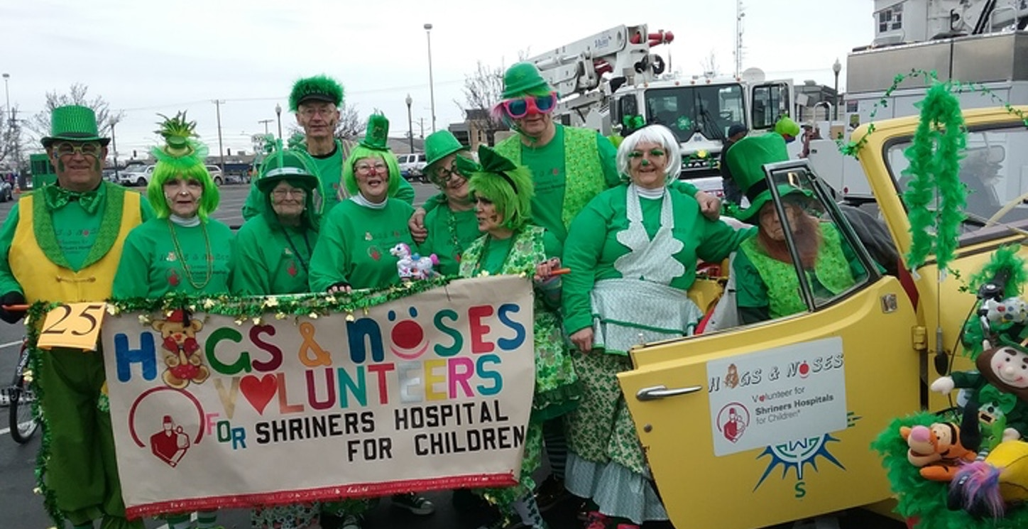 Hugs And Noses, Volunteer Clowns For Shriners Hospital For Children At Spokane St. Paddys Day Parade T-Shirt Photo
