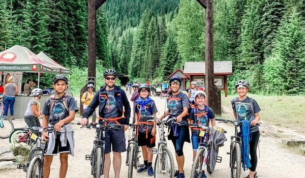Biking The Hiawatha Trail In Our First 'Family Merch' T-Shirt Photo