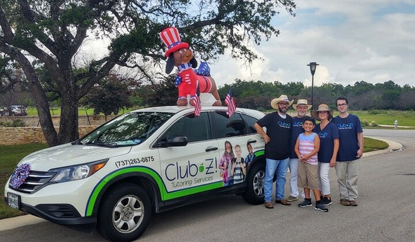 """Club Z Tutoring Services Participates In """"The Best Little Parade In Texas"""" In Wimberley, Tx For 2021 Independence Day Parade T-Shirt Photo"""